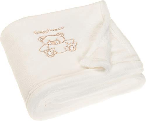 Playshoes Baby und Kinder Fleece-Decke, vielseitig nutzbare Kuscheldecke für Jungen und Mädchen, mit Bär-Stickung, Beige, 75 x 100 cm