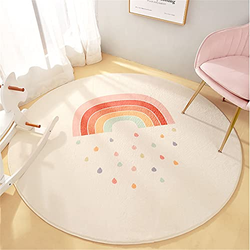SWECOMZE Regenbogen Teppiche Kinderteppiche Flauschige Runden Groß Schutzmatten Kindermatte fürs Babyzimmer Kleinkinderzimmer Wohnzimmer (B,120 * 120cm)