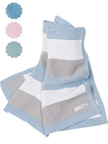 Babydecke aus 100% Bio Baumwolle - kuschelige Strickdecke ideal als Baby Decke, Erstlingsdecke, Wolldecke, Bettdecke oder Baby Kuscheldecke für Sommer und Winter in blau für Junge von Minky Mooh