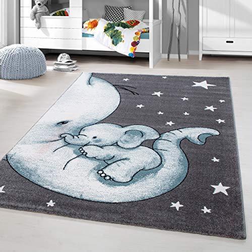 HomebyHome Kinderteppich Kurzflor Elefanten Mama Kinderzimmer Babyzimmer Grau Blau Meliert, Grösse:120x170 cm