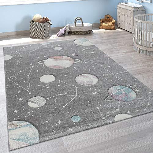 Paco Home Kinder-Teppich, Spiel-Teppich Für Kinderzimmer Mit Planeten Und Sternen, In Grau, Grösse:120x170 cm