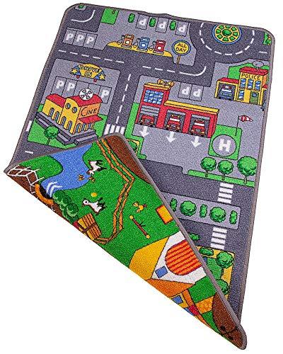 Ondis24 Kinder Spielteppich groß, Kinderteppich Straße & Bauernhof Design, Maße 67x100 cm, zweiseitig, für Kinderzimmer
