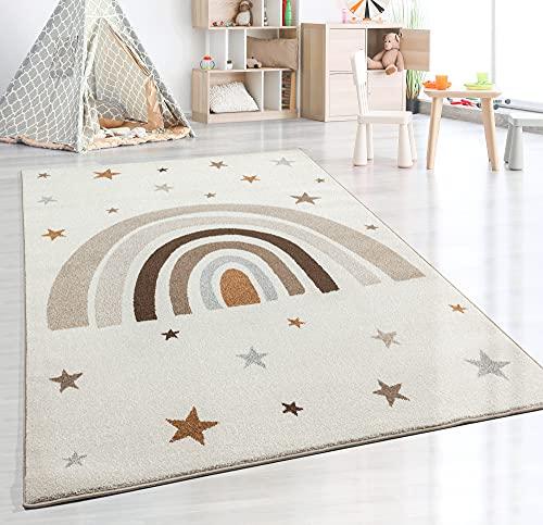 the carpet Beat Kids Moderner Weicher Kinderteppich, Weicher Flor, Pflegeleicht, Farbecht, Regenbogen Muster, Creme, 200 x 280 cm