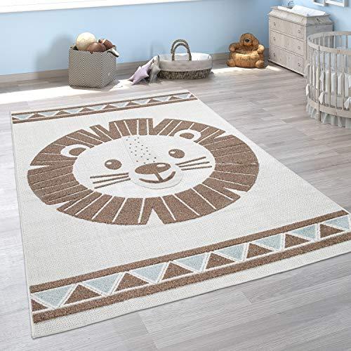 Paco Home Kinderteppich Kinderzimmer Outdoorteppich Spielteppich Tiermotive Modern 3D, Grösse:80x150 cm, Farbe:Beige