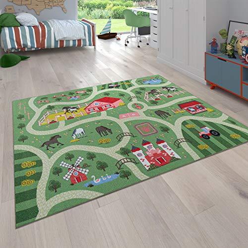 Paco Home Kinder-Teppich Für Kinderzimmer, Spiel-Teppich Mit Landschaft und Pferden, In Grün, Grösse:160x220 cm