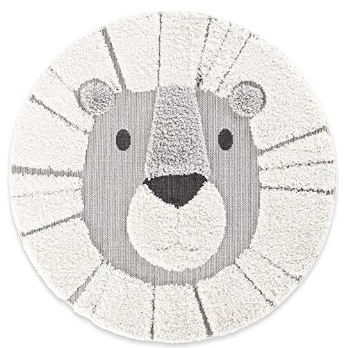 Teppich Löwe Rund, 120x120cm Weiß-Grau, weicher Hochflor mit robustem Flachgewebe kombiniert