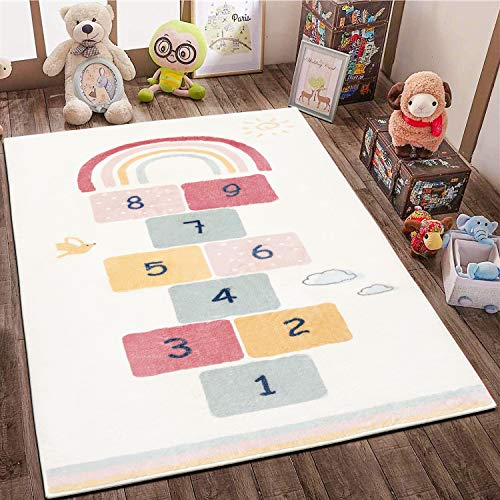 SHACOS Kinderteppich Baumwolle Jungen Kinderzimmerteppich Mädchen Krabbelunterlage rutschfest Babyspielmatten Beige Spielteppich Weich Groß Spielmatte Baby Zahlen Babyteppiche 120x170 cm