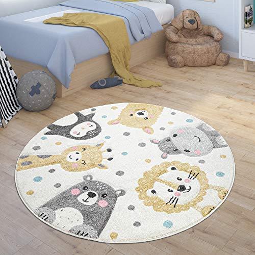 Paco Home Kinderteppich Rund Teppich Kinderzimmer Zoo Tiere Pinguin Lama Nilpferd Löwe Bär, Grösse:120 cm Rund, Farbe:Beige