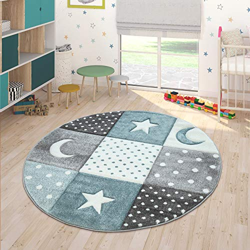 Paco Home Kinderteppich Pastellfarben Kariert Punkte Mond Sterne Weiß Grau Blau, Grösse:Ø 120 cm Rund