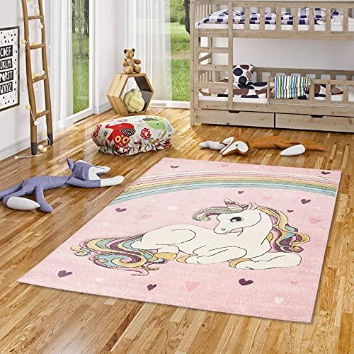 Pergamon Kinder Teppich Maui Kids Einhorn Pastell Rosa Bunt in 5 Größen