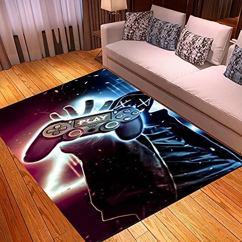 3D Anime Gamer Teppich Kinder Jungen Groß Kinderzimmer Gaming Teppich Schlafzimmer Dekoration Wohnzimmer Kurzflor Krabbelmatte Modern Weich Kinderteppiche Waschbarer Braun Schwarz (120x160 CM)