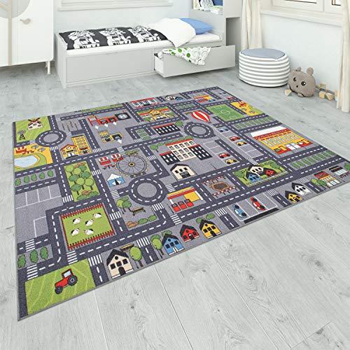 Paco Home Teppich Kinderzimmer Grau Kinderteppich Spielteppich Straßenteppich Mädchen Jungs, Grösse:160x220 cm, Farbe:Grau 2