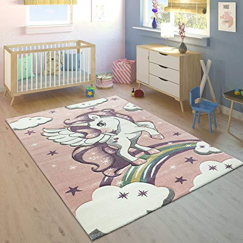Kinderteppich Kinderzimmer Konturenschnitt Regenbogen Einhorn Pastell Rosa, Grösse:120x170 cm