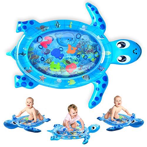 Wassermatte Baby Wasserspielmatte BPA-frei, Kaome Große Baby Spielzeug ab 3 6 9 Monate Aufblasbare Schildkröte Spielmatte, Baby Bauchzeit Matte für frühe Entwicklung des Säuglings (76 x 48 cm)