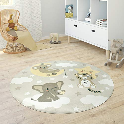 Paco Home Kinderteppich Teppich Rund Kinderzimmer Spielmatte Babymatte Stern Mond Elefant Regenbogen, Grösse:Ø 120 cm Rund, Farbe:Beige