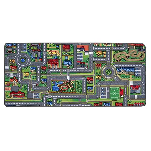 Spielteppich mit Straßen - Streets, 95x133 cm, Pflegeleicht, Fußbodenheizung Geeignet, Spielmatte, Auto-Kinderteppich für Mädchen & Jungen