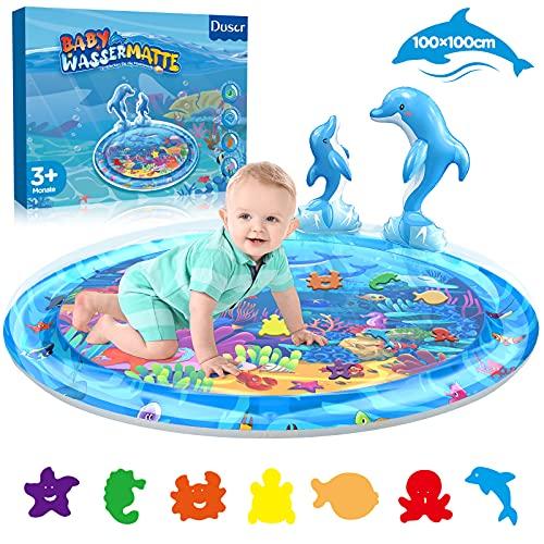 Dusor Wassermatte Baby Spielzeug 3 6 9 Monate, Wasserspielzeug Aufblasbares Wassermatte für Kinder, Sensorisches Spielzeug Geschenke fördert das Wachstum Baby, Kinderspielzeug BPA-frei(100 * 100 Cm)