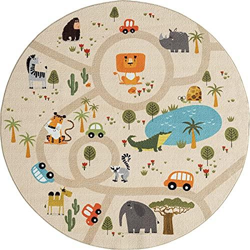 the carpet Happy Life Kinderzimmer, Kinderteppich, Spielteppich, Waschbar, Straßenteppich, Straße, Dschungel, Tiere, Auto, Rund, Beige, 160 x 160 cm