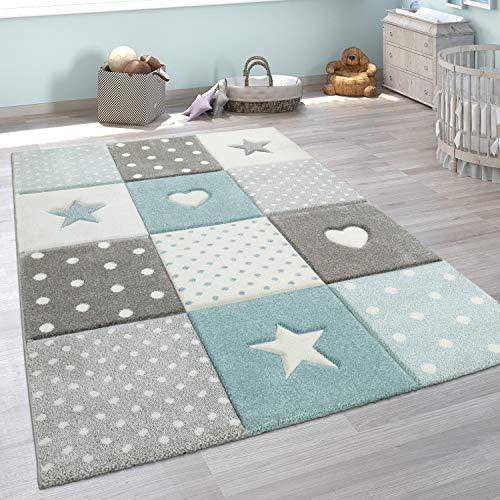 Paco Home Kinderteppich Kinderzimmer Punkte Herzen Sterne Pastell versch. Farben u. Größen, Grösse:80x150 cm, Farbe:Blau