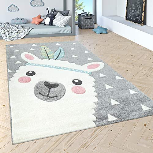Paco Home Kinderteppich Kinderzimmer Moderne Pastell Farben, Niedliche Motive, 3D Effekt, Grösse:80x150 cm, Farbe:Grau