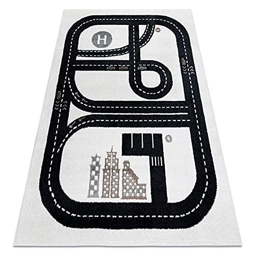 rugsx Teppich Fun Track Kinderteppich für Babyzimmer, Spielteppiche, Kinderzimmer, Moderne, Straße, Stadt Creme 280x370 cm
