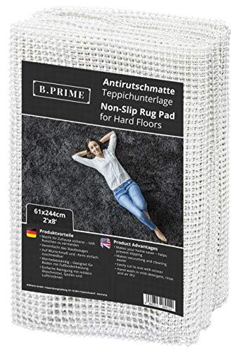 B.PRIME 61x244cm Antirutschmatte Universal I Teppichunterlage I Teppichunterleger I Teppichunterlage I Rutschschutz für Teppich I Teppichstopper