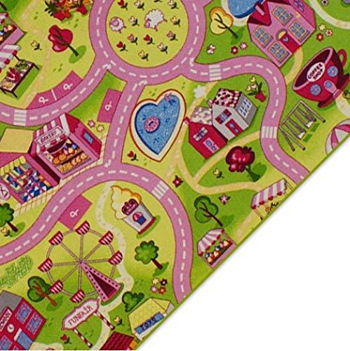 Kinderteppich Spielteppich Straßenteppich Sweet City Rosa Pink Kinderzimmer Häuser Teppich für Mädchen (80 x 120 cm)