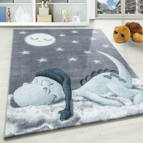 Kinderteppich Motiv niedliche Dinosaurier Sterne und Mond Blau Grau Weiß Farben, Größe:160x230 cm, Farbe:Blau