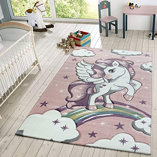 TT Home Kinder Teppich Moderner Spielteppich Einhorn Sternen Design Mit Wolken Rosa, Größe:120x170 cm