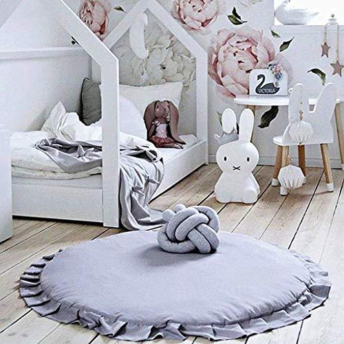 Kinderteppich, Baby krabbeln Matte Neugeborenes Baby Padded Spiel Matten Baumwolle Krabbeln Mat Spiel Teppiche Runde Boden Teppich(C)