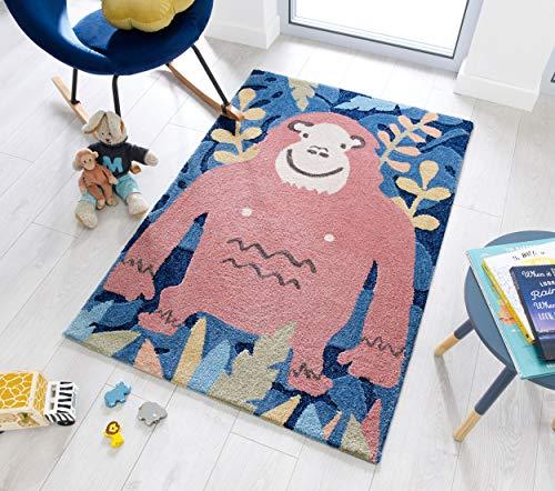 Zest Kids Kinderteppich mit Jungle Affe in Braun / Blau / mehrfarbig (80 x 120 cm)