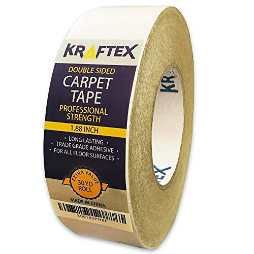 Teppichklebeband – 27m Rolle für Teppiche, Fußmatten, Teppichunterlagen & Stufenmatten – doppelseitiges Klebeband mit Anti-Rutsch-Technologie – ideal für z.B. Hartholz, Fliesen & Laminatboden