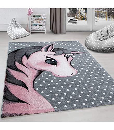 Kinderteppich Kinderzimmer Teppich Einhorn Muster Grau-Weiß-Pink - 120x170 cm