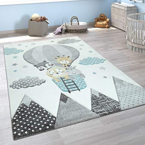 Kinderzimmer Teppich Blau Grau Heißluftballon Wolken Tiere 3-D Design Pastell, Grösse:80x150 cm