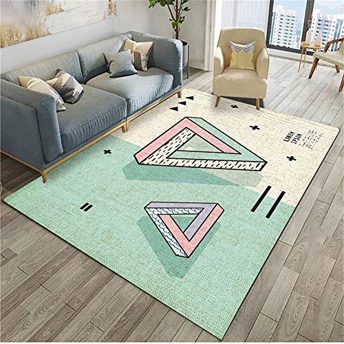 WQ-BBB Schlafzimmers Kinderteppich beide heizen Cartoon Farbabstimmung Design weiß rosa hellgrün geometrischen Stil tepiche für Wohnzimmer 200X300cm