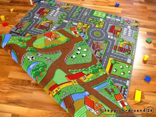 Lernen und Spielen Straßenteppich Beidseitig mit Zwei Straßenlandschaften in 4 Größen ab EUR 39,90, Größe:100x165 cm