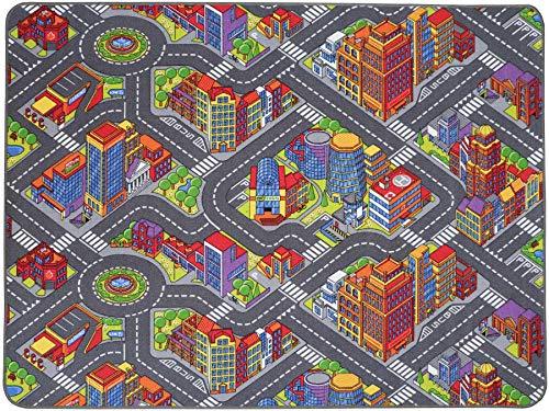 Spielteppich mit Straßen - Big City, 140x200 cm, Pflegeleicht, Fußbodenheizung Geeignet, Spielmatte, Auto-Kinderteppich für Mädchen & Jungen