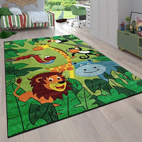 Paco Home Kinderzimmer Kinderteppich für Jungen mit Tier u. Dschungel Motiven Kurzflor, Grösse:80x150 cm, Farbe:Grün