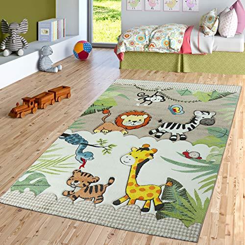 TT Home Kinderzimmer Teppich Dschungel Zoo Tiere Zebra Tiger Löwe AFFE Beige Creme, Größe:120x170 cm