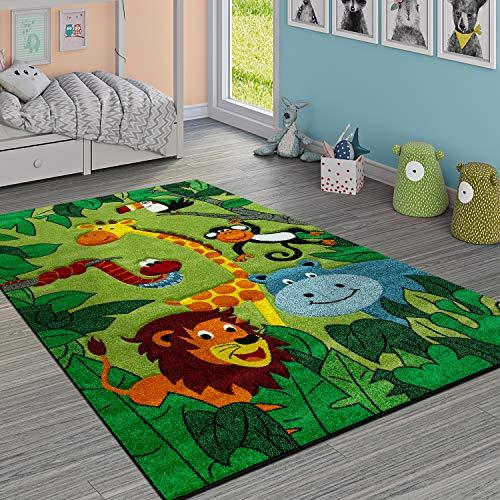 Paco Home Kinderteppich Kinderzimmer Dschungel Tiere Giraffe Löwe AFFE Nilpferd Grün, Grösse:160x230 cm