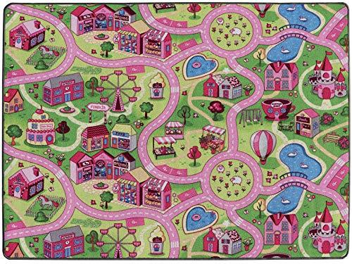 Spielteppich mit Straßen - Sweet City, 140x200 cm, Pflegeleicht, Fußbodenheizung Geeignet, Spielmatte, Rosa Auto-Kinderteppich für Mädchen