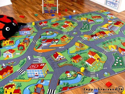 Snapstyle Kinder Spiel Teppich Little Village Grün in 24 Größen
